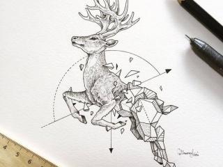 geometrik-geyik-ceylan-dovmesi-geometrik-dovme-modelleri-min