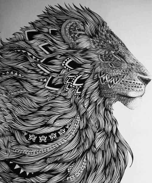 mandala-dovme-modelleri-lion