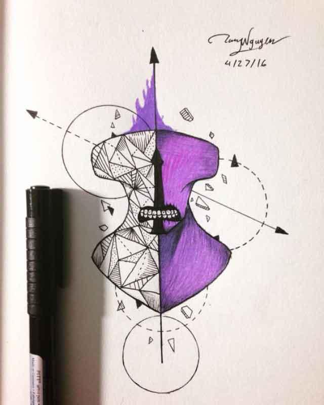 sulu-boya-water-color-matematik-dovme-modeli