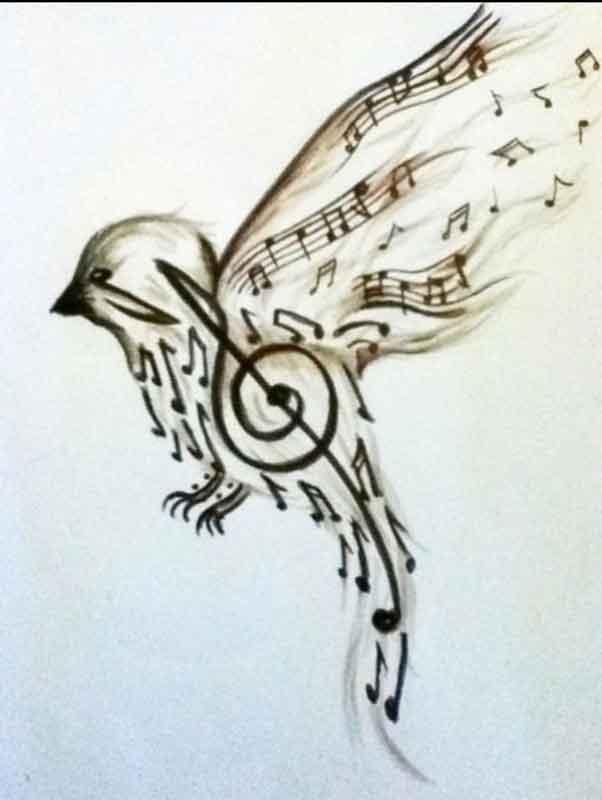 sulu-boya-water-color-nota-muzik-kus-dovme-modeli
