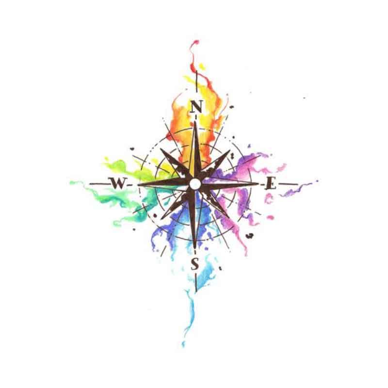 sulu-boya-water-color-pusula-kutup-yıldız-dovme-modeli